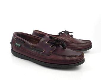 Leather Boat Shoes Vintage 1980s Bass Brown Lace up Boat Shoes men's size 8
