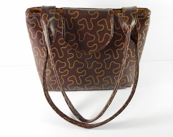 Purse Shoulder Bag Brown Vinyl Squiggle Design Medium-Sized Vegan Flap Double Straps Pockets Zipper Magnetic Snap