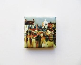 colorful harbor town mini canvas print