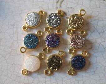 Shop Sale..  5 pcs, Gemstone Connectors Links, Bezel Drusy Druzy Charm Pendant, 8 mm, Sterling Silver or 24k Gold, petite gcl.d2 ap31.8