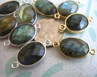 Shop Sale ..1 2 5 10 pcs, Gemstone Connectors Links, Bezel LABRADORITE, Gold Vermeil or Sterling Silver, 21.5x11.5 mm, oval GCL20 gc ll