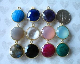 Shop Sale.. MATCHED PAIR, Bezel Gemstone Charm Pendants, u choose, Bezel Set Stone, 20x16 mm, 24k Gold Vermeil, large round gcp9 gp ll solo