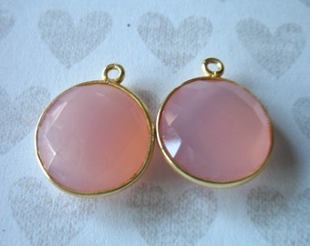 Shop Sale.. 1 2 5 10 pc, Bezel Charm Pendants, Bezel Set Pink Chalcedony, 20x16 mm, 24k Gold Vermeil, large big round gcp9 gp ll