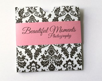 Personalized Cd Dvd cases in damask and any color belly band with your logo or inscription set of 10