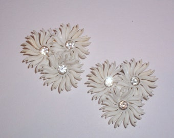 Vintage Clip On Plastic Flower Earrings with Rhinestone Centers