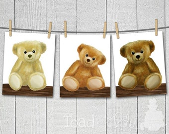 Set of 3 Teddy Bears Stuffed Animals Bedroom Nursery 8 x 10 ART PRINTS