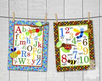 Set of 2 Happy Bugs Alphabet and Numbers Boys Bedroom Baby Nursery Bedding 8 x 10 ART PRINTS