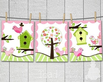 Set of 3 A Sweet Tweat Girls Bedroom Birdies and Birdhouses 8x10 Wall Art Prints