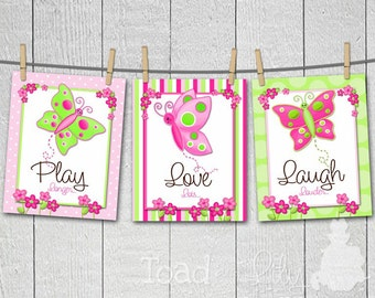 Set of 3 Pretty Butterfly Girls Bedroom Nursery 8 x 10 ART PRINTS