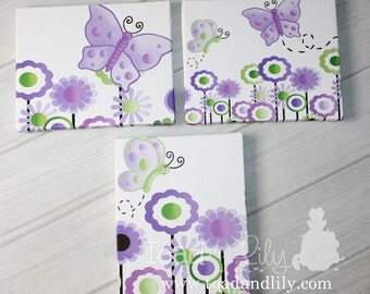 Set of 3 Lilac Butterfly Girls Stretched Canvases Kids Bedroom Baby Nursery CANVAS Bedroom Wall Art 3CS032