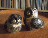 Vintage Pair of Kitschy Ceramic Owls, Made in Japan