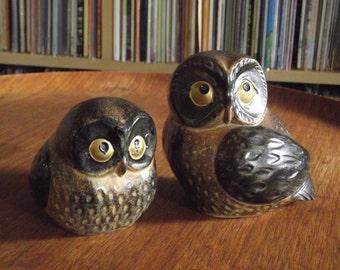 Vintage Pair of Kitschy Ceramic Owls, Made in Japan