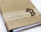 Wedding MEMORY Book / Bridal Keepsake Book / Burlap and Lace / Neutral Wedding / Fall Wedding / Brown, Ivory, Tan, Gold / Personalized Book
