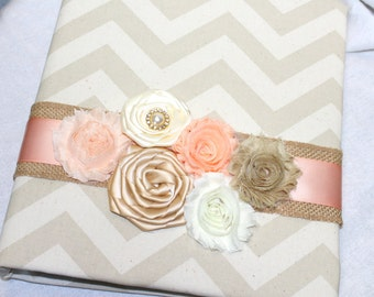 Wedding MEMORY Book - Peach, Gold and Ivory, Tan Chevron, Burlap, Rustic Wedding, Custom Fabric and color schemes available