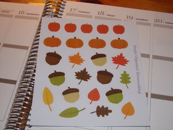 Fall Medley Stickers Leaves Acorns Apples Pumpkins / Erin Condren ...