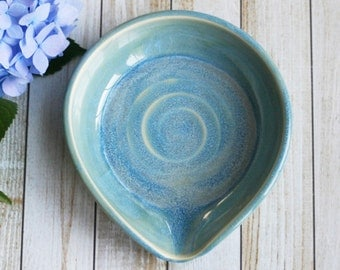 Large Spoon Rest in Sea Glass Blue Glaze Glaze Pottery Dish Handmade Kitchen Drip Dish Ready to Ship Made in USA