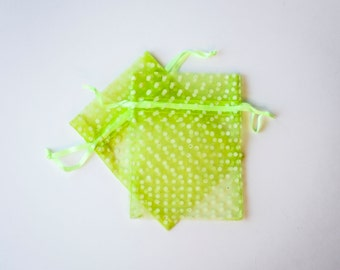 Lime Green Polka Dot Organza Bags, 3x4 inch, Lime with White Dots, 30 Count
