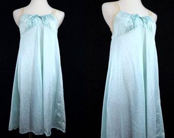1970s Ice Blue Nightie Babydoll Mistee Small Medium Nylon Nightgown Pajamas