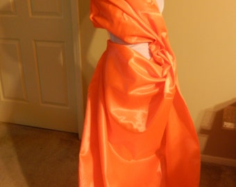 Neon Orange Satin fabric