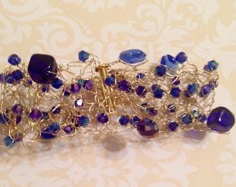 Sapphire Czech Bead Crochet Wire Bracelet