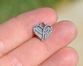BULK 50 Antique Silver Tone Heart Wing Charms SC3311