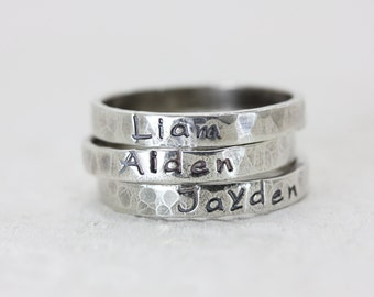 Personally Yours Name Rings - Thin Sterling Silver Stackable Rings - Stacking - Custom Jewelry - Hand Stamped Jewelry - Names Words Mantras