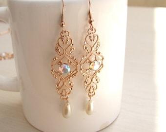 ON SALE Bridal Rose Gold Earrings,Chandelier Earrings, Pearl Dangle Earrings, Rose Gold Earrings, Crystal Gold Earrings