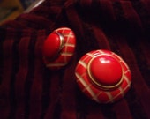 Vintage Silver tone Fire Engine Red and White Pierced Large Domed Round Pierced Post Earrings   J2015119