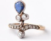 Sapphire Engagement Ring: French Antique Diamond, 14K Gold & Silver, Size 4.75
