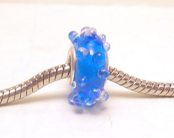 Lampwork Glass Bead fits all big hole bead European Charm Bracelets - Blue Ice BHB