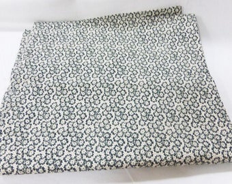 """Fabric vintage sewing craft quilting olive color white background 44"""" x 90"""" floral"""