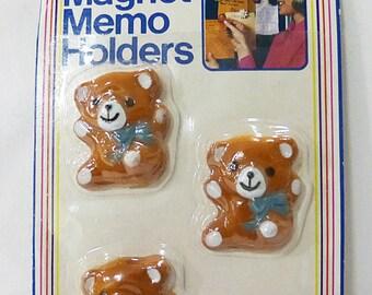 CLEARANCE fridge magnet vintage teddy bear by ARJON 1985 set of 3