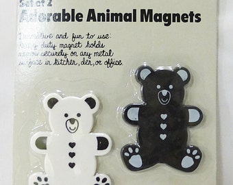 CLEARANCE fridge magnet vintage bear animal set of 2 from 1987