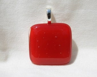 Dichroic Fused Glass Pendant-Simply Stunning Red Pendant  #0161