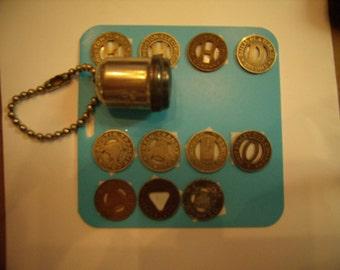 Vintage Transit Token Holder Key Chain 11 Tokens 1950s