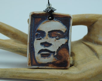 ceramic pendant Frida skeleton necklace skull pendant dia de los muertos