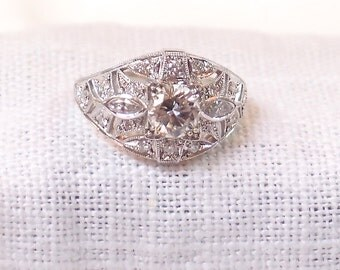 Art Deco Style Diamond Engagement Ring in 14k Gold GIA Certified 1.04 Carat