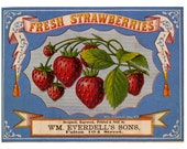 Fresh Strawberries Label Digital Downloads image for iron on print fabric burlap transfer decoupage tag card pillow tote fruit crate label