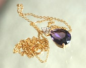 Reserved for D — 80s Espo Lind Pendant, 14kt Gold Filled, Glass Purple Amethyst Stone, CZ Rhinestones, Still on Card, NOS, Mint Condition