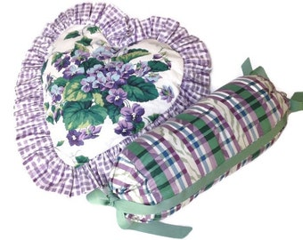 Vintage Neck Roll and Heart Pillow Ruffles Violets Purple Green Plaid