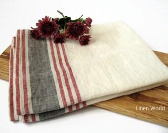 Striped Linen Tea Towel, washed soft flax towels, rustic heavy, pure linen kitchen towels, dish towels