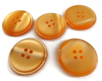 Creamsicle Vintage Buttons - 5 Orange Large Coat Jacket 1 1/8 inch for Sewing Knitting