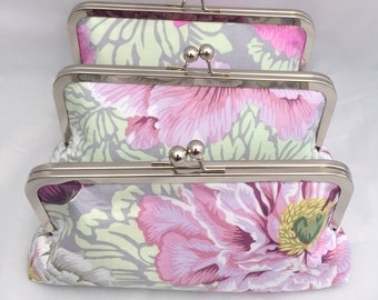 Set of (3) Floral Clutches for Bridesmaids Gift Floral fabric in shades of pink and purple the Wedding Party Gift or Bridesmaids Handbag