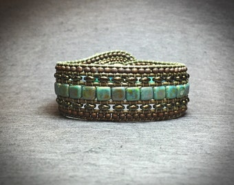 DIY Wide Leather Beaded Cuff Kit by Leila Martin (brown leather)