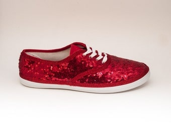 Sequin | CVO Tiny Sequins Red Canvas Sneaker Sparkly Tennis Shoes