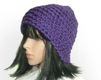 Crochet Beanie Hat in Chunky Purple women's winter hat beanie