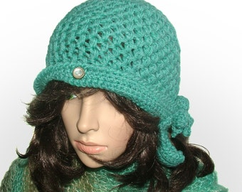 Turquoise Cloche Beanie Hat Chunky Crochet