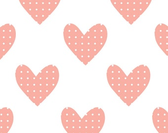 ON SALE Fabric Wall Decal - Hearts (Pink) (reusable) No PVC