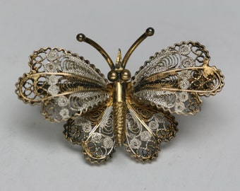 Vintage 800 Silver Butterfly Pin - Italy