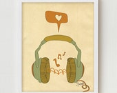 "Music Art Print, Digital Print Wall Decor, ""MUSIC"" Giclee Print Artwork, Music Love Giclee Print, Retro Music Headphones Giclee Print"